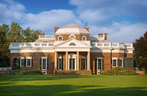 Imposing brick structure constructed in the classical style.